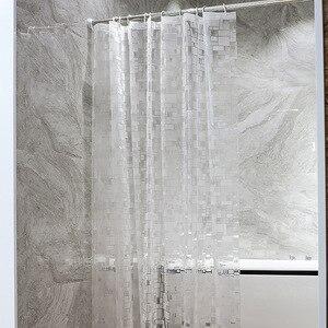 Image 5 - EVA kare duş perdesi şeffaf kalınlaşmış duş perdeleri 3D banyo perdesi Moldproof su geçirmez banyo malzemeleri