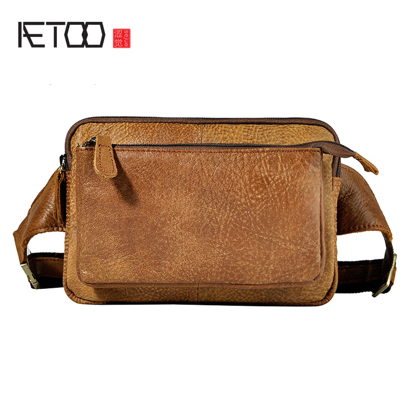 AETOO The first layer of oil wax leather leather foreign trade men tide cool phone camera 7 inch chest bag pockets aetoo first layer of leather korean version of the tide ladies oil wax leather handbag ladies shoulder messenger bag