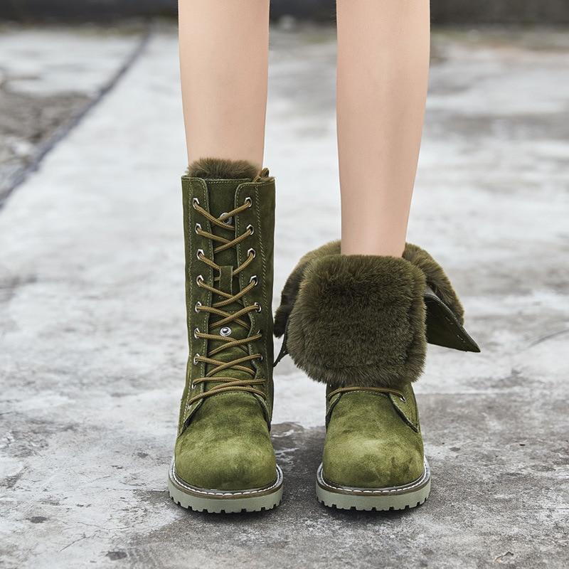 Neige Green Hiver Cuir Femelle Laçage camel Plein Chaussons Velours Une Plus Noir En Britannique De Mi Fourrure bottes army Coton Bottes Bottes Air Martin 2018 qgY5Tt