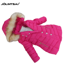 2016 Fashion Girls Winter Coat Long Cotton-padded Jacket For Girls Parka Fur Collar Girl Clothes Hooded Children Clothing 6-12Y