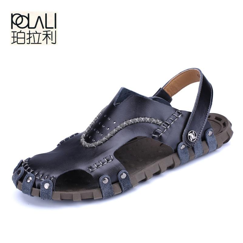 594e2c57c7f POLALI High Quality Men Leather Sandals Summer Beach Shoes Casual Men  Sandals Beach Male Sandal Fashion