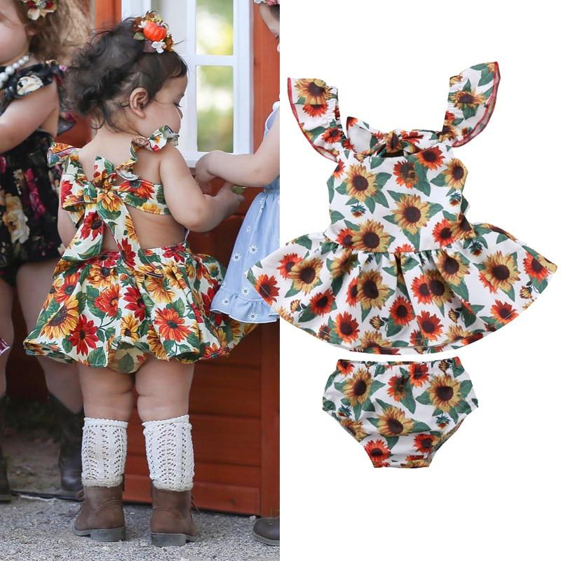 33069568ee1 Detail Feedback Questions about Cute 2018 Kids Baby Girls Sunflower Ball  Gown Ruffles Backless Dress Children Girl Dress Clothes on Aliexpress.com
