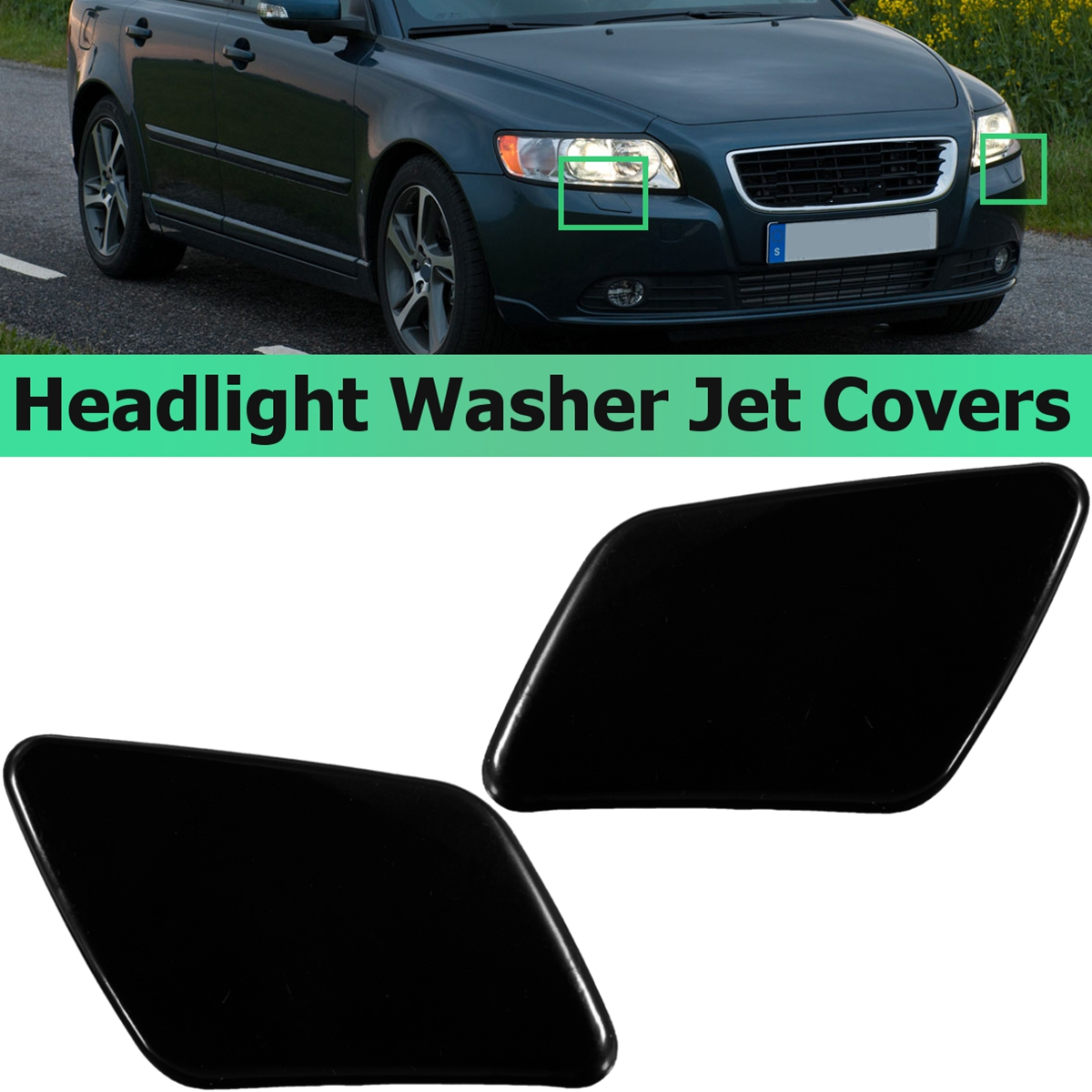 2pcs Left Right Front Bumper Headlight Washer Jet Cover Cap For Audi A6 C5 98-01