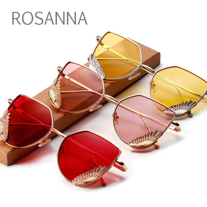 ROSANNA 2018 Cat Eye Rose Pink Women Sunglasses Men plain glasses Trend Metal Frame High Quality Female Lady Eyewear UV400 R124