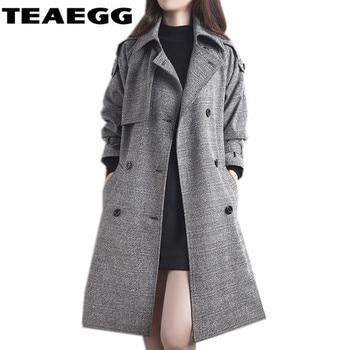 TEAEGG Long Coats Women Autumn Gray Double Breasted Trench Coat For Women Windbreaker Casaco Feminino Outwear Clothes AL04