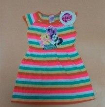 6Pieces/lot 1-6 Baby Girls Princess Party Dress,Little Pony Dress,My Best Friend Striped Cartoon Dress for Summer