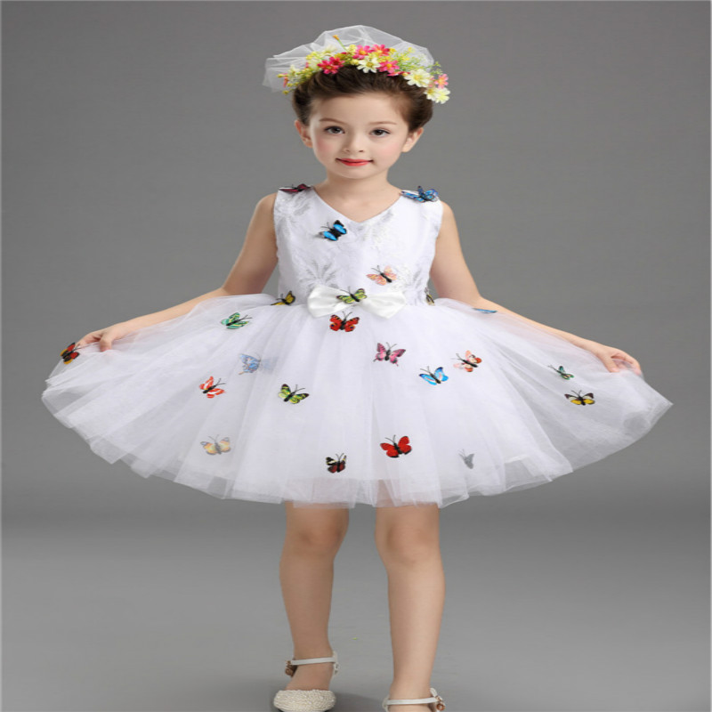 Girl Cinderella Costume Princess Party Dresses Kids Christmas Clothes Fresh Butterfly Ball Gown Dance Dresses For Teenagers new cinderella princess girl dress kids christmas dresses costume for girls party crown necklace fantasia dress kids clothes