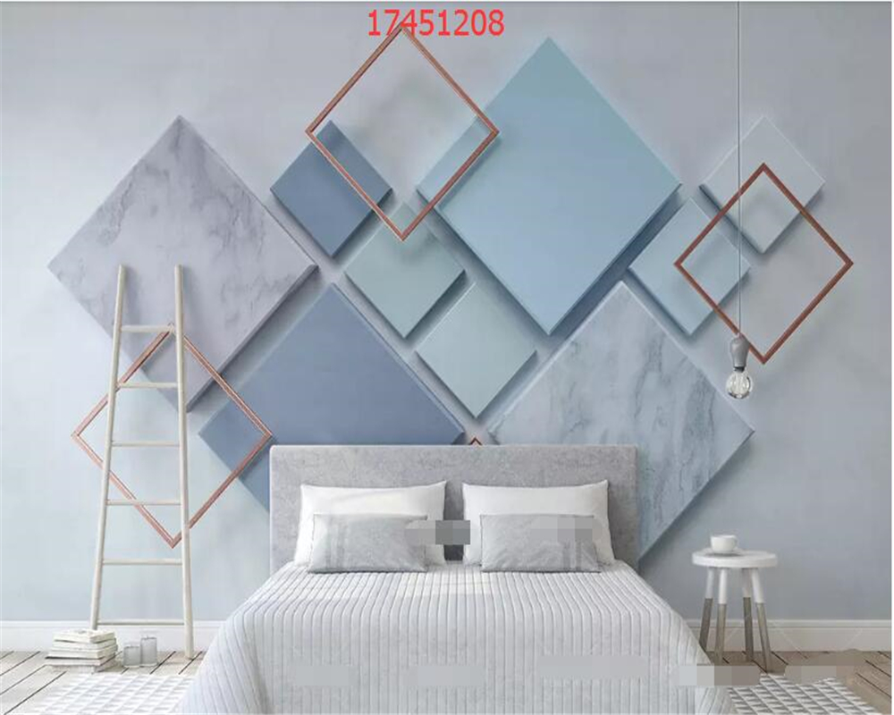Купить с кэшбэком beibehang Custom size 3d modern minimalist geometric square marble mosaic 3d stereo TV background wall bahang wallpaper