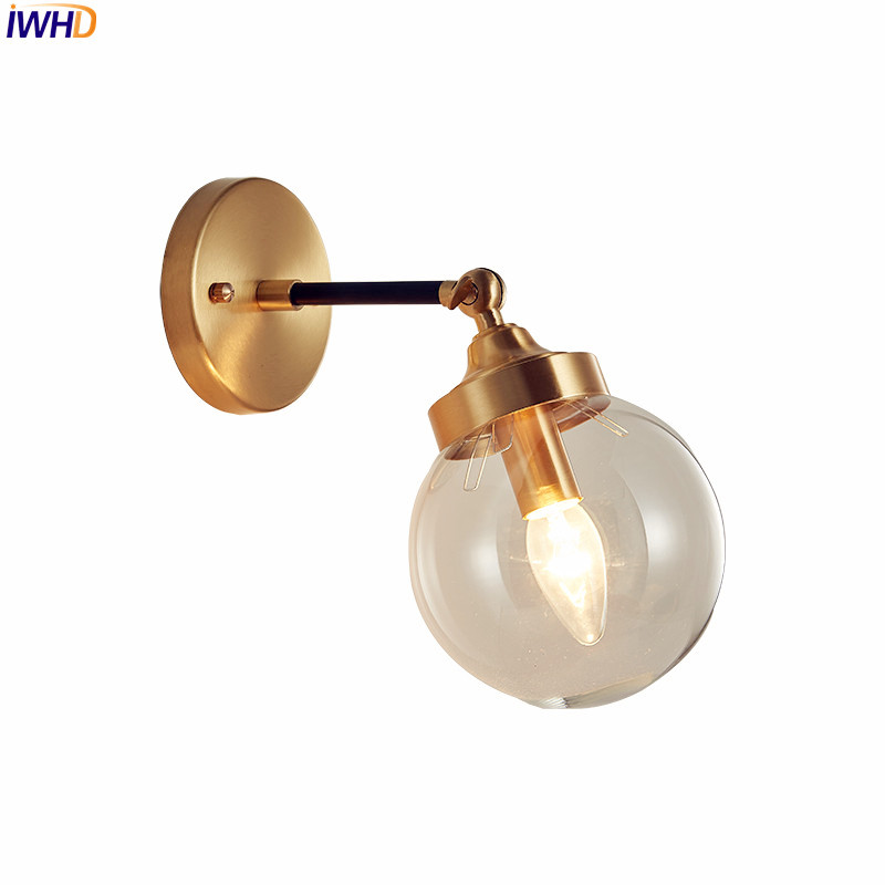 IWHD Nordic Modern LED Wall Lights For Home Lighting Bedroom Bathroom Mirror Light Copper Glass Ball Wall Lamp Sconce Luminaire copper bathroom shelf basket soap dish copper storage holder silver