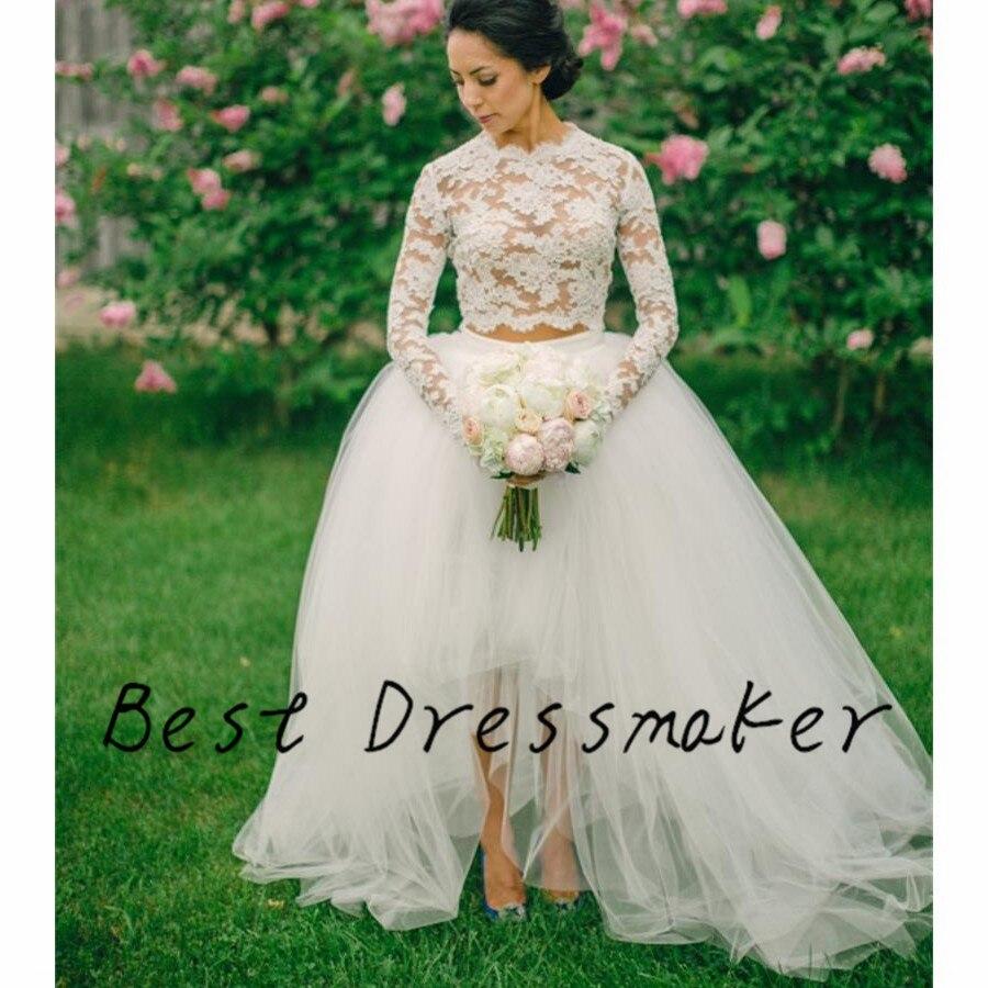 2 Piece Long Sleeve Wedding Dress Short Front Back Robe De Mariee Lace Trouwjurk Vestido Novia In Dresses From Weddings