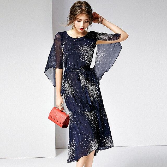 100% Silk Dress Women Elegant Style Printed O Neck Half Flare Sleeves Sashes Grade Fabric Mermaid Dress Summer New Fashion 2019