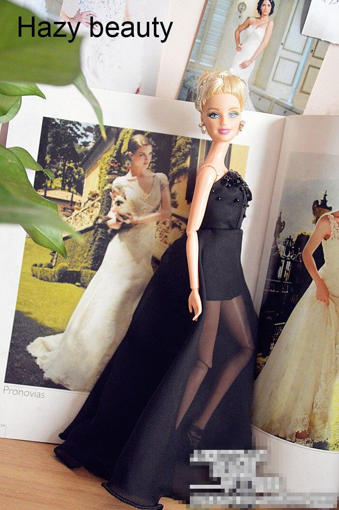 Hazy beauty Autonomous design handmade black dress Doll Accessories Evening Wedding Dress Clothes For Barbie Doll BBI263 autonomous design handmade gifts for girls doll accessories evening suit wedding dress clothes for barbie 1 6 doll bbi0048