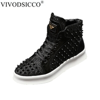 VIVODSICCO New Round Toe Black Gold Red Sequins Rivets Ankle Boots Men Genuine Leather Punk Martin Boots Male Motorcycle Boots