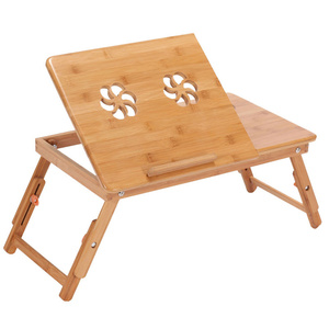 Image 1 - Bamboo Laptop Table Adjustable Computer Desk For Sofa Bed Folding Portable Laptop Table With Cooling Fan Notebook Stand Table