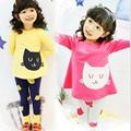 New Brand 2015 Children's Girls Sets Fashion Cute Cartton Cats Cotton Long Sleeve T-shirts + Leggings Pants Kids Clothing