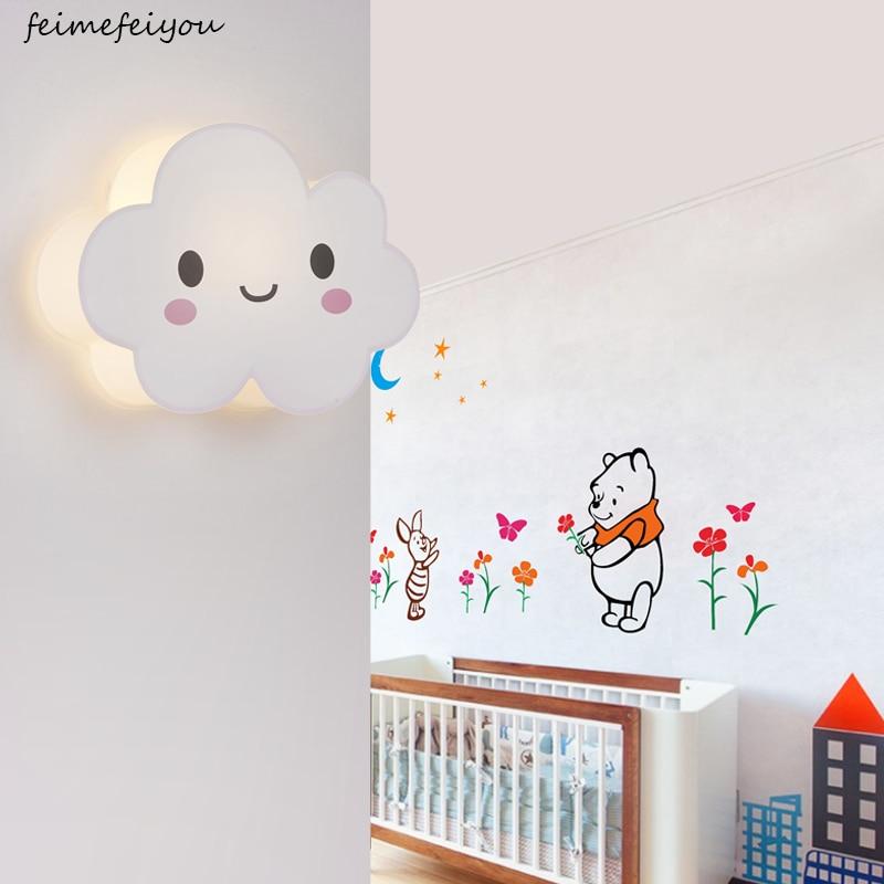LED Modern Wall Lamps Children Baby Kids Bedroom Bedside Lamp Cartoon clouds Shape 90 260V Originality Novelty Light