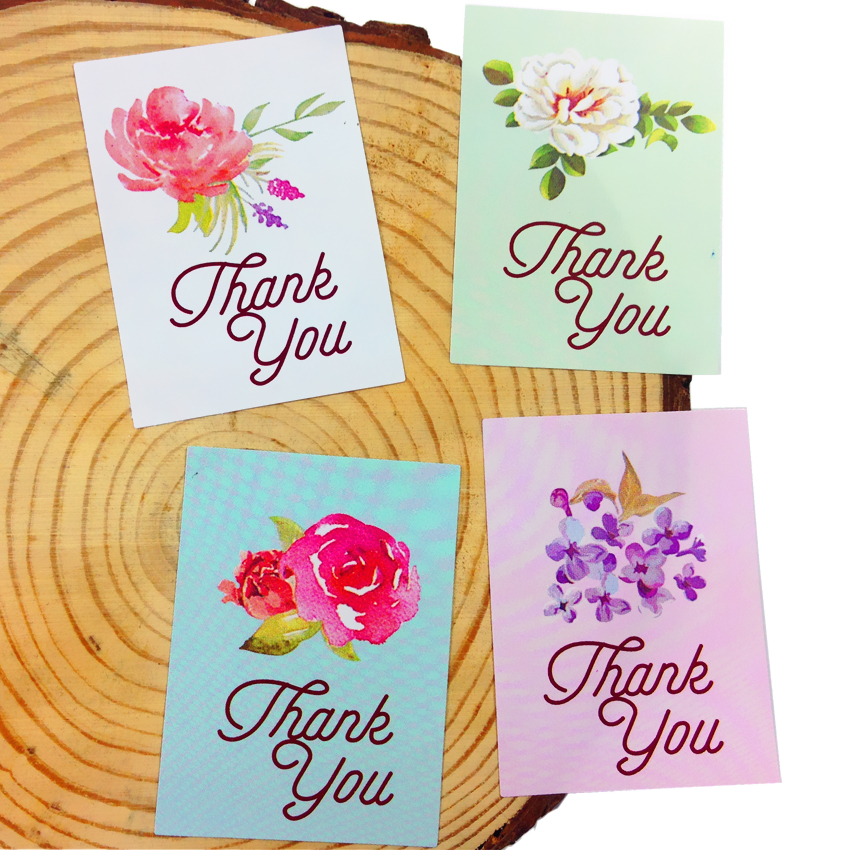 400pcs/lot NEW Fresh Watercolor Flower Thank You Adhesive seal sticker for baking DIY packaging label Diary decoration stickers