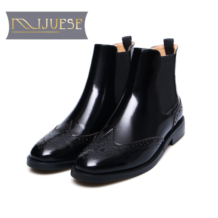MLJUESE 2018 women ankle boots cow leather patent leather cutouts brogue style autumn spring women Chelsea