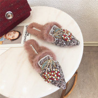 Brand Designers Comfortable Crystal Rabbit Hair Winter Shoes Woman Animal Flat Slippers Fur Slides Mules Flip Flops 2018