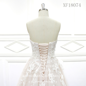 Image 5 - 100% נדל תמונות מתוק לב חתונת שמלות משפט רכבת חתונה Vestido תחרת כלה שמלה עם אגלי XF18074