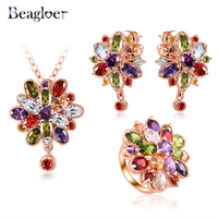 Luxury Elegant Flower Pendant Necklace Earrings Rings Platinum Plated AAA Zirconia Jewelry Sets For Women CST0038