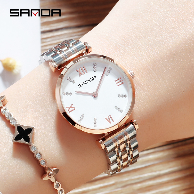 SANDA Super Slim Rose gold Stainless Steel Watches Women Top Brand Luxury Casual Clock Ladies Wrist Watch Lady Relogio Feminino sk super slim sliver mesh stainless steel watches women top brand luxury casual clock ladies wrist watch lady relogio feminino