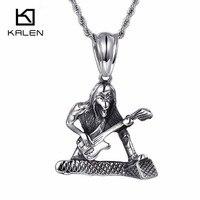 Kalen Gotik Kafatası Gitar Kolye Ile Ilkel Için Erkekler Paslanmaz Çelik Kolye Kolye Hip Hop Bırak Nakliye Erkek Takı