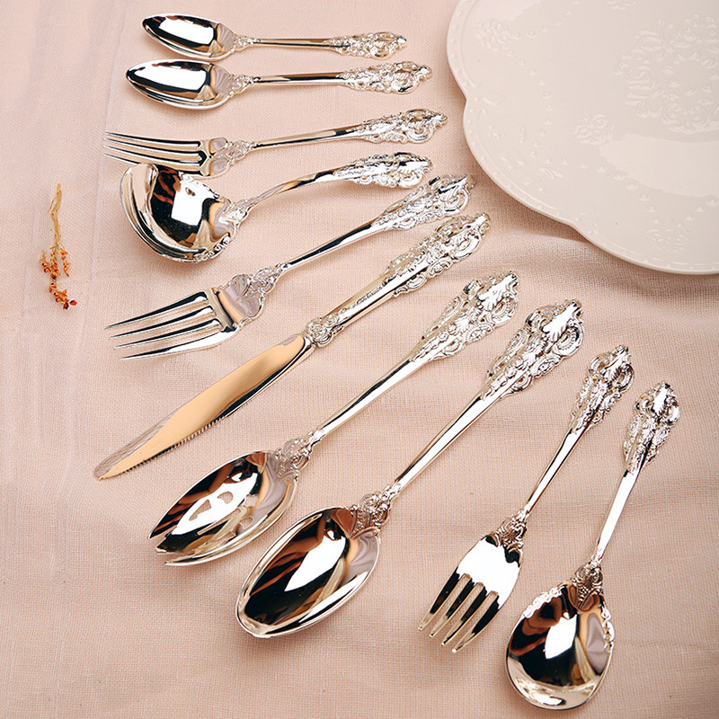10pcs set Silver Plated Dinnerware set Steak Knife Dinner Fork Teaspoon Cutlery Christmas Flatware Silverware Wedding