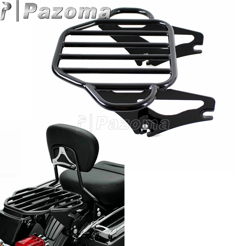 Black Motorcycle Detachable Two Up Tour Pak Luggage Rack for Harley Touring Road King Street Glide