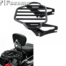 Black Motorcycle Moto Detachable Two Up Tour Pak Luggage Rack for Harley Touring Road King Street Glide FLHX FLHR FLTR 2009-2016 detachable stealth luggage rack for harley touring electra glide road king street glide touring 2009 2016 motorcycle