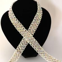 Good quality Wide Crystal AB Rhinestone Cup Chain Sew On Rhinestone Trim DIY Wedding Dress Rhinestone Belt Performance clothing