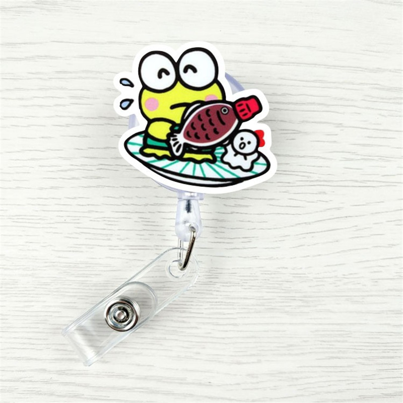 Boy And Girl Brushing Teeth Cute Forg Retractable Badge Reel Student Nurse Exhibition ID Name Card Badge Holder Office Supplies