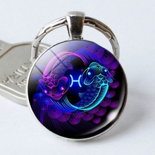 Gift Twelve Constellations Time Gemstone Metal Key Chain Stylish And Beautiful Look Special Constellation