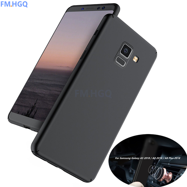 wholesale dealer 9abc9 4077c US $3.67 8% OFF|For Samsung Galaxy A5 2018 / A8 2018 / A8 Plus 2018 A 5 A 8  2018 Magnetic Car holder Cases Matte Case Full Cover PC protective -in ...