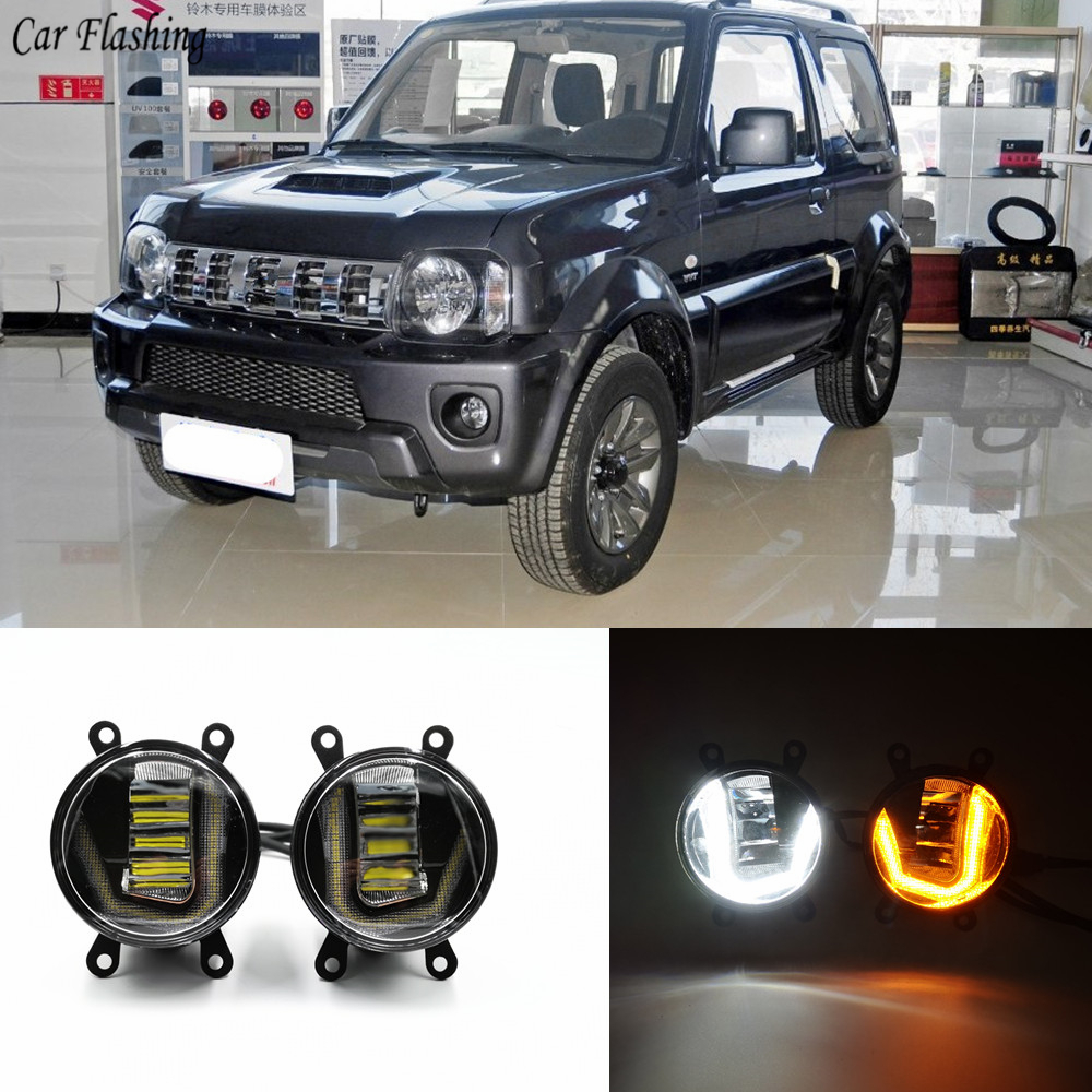 3 IN 1 Functions Auto LED For Suzuki Jimny 2007 2016 DRL Daytime Running Light Car Projector Fog Lamp with yellow signal-in Car Light Assembly from Automobiles & Motorcycles    1