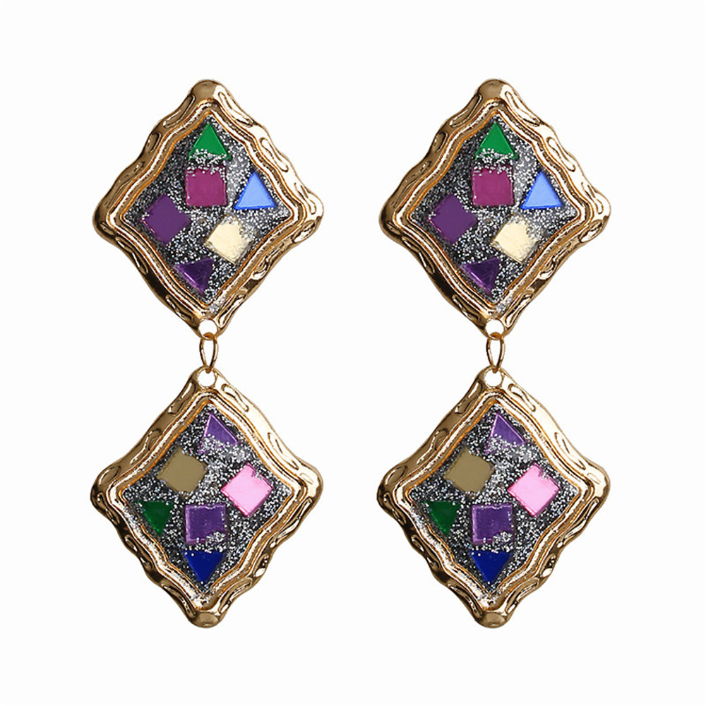 ECODAY Metal Sequin Vintage Earrings for Women Statement Drop Pendientes Mujer Oorbellen Brincos 2019