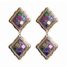ECODAY Metal Sequin Vintage Earrings for Women Statement Drop Pendientes Mujer Oorbellen Brincos 2019