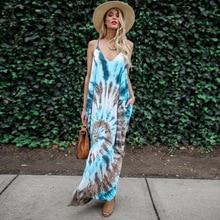 Summer Large Loose Long Beach Dress Sexy V Neck Plus Size Boho Sleeveless Print Women Dress Maxi A Line Spaghetti Pockets Dress цена 2017