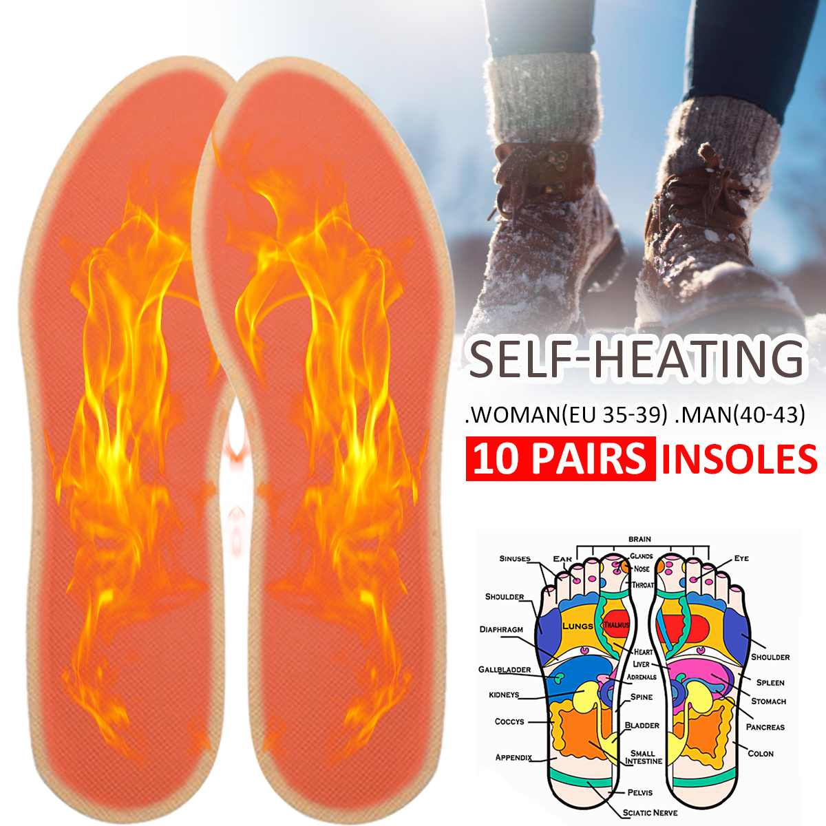 1 Pair Winter Self-heating Insoles Warm Heating Insoles Warm Foot Heater Pad Shoes Boot Pad For Woman Man
