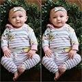 Ropa de Bebé recién nacido Infantil de Las Muchachas Tops Camisetas Ropa Del Bebé Con Capucha de Manga Larga Trajes de Pantalones de La Flor Ocasional Nueva
