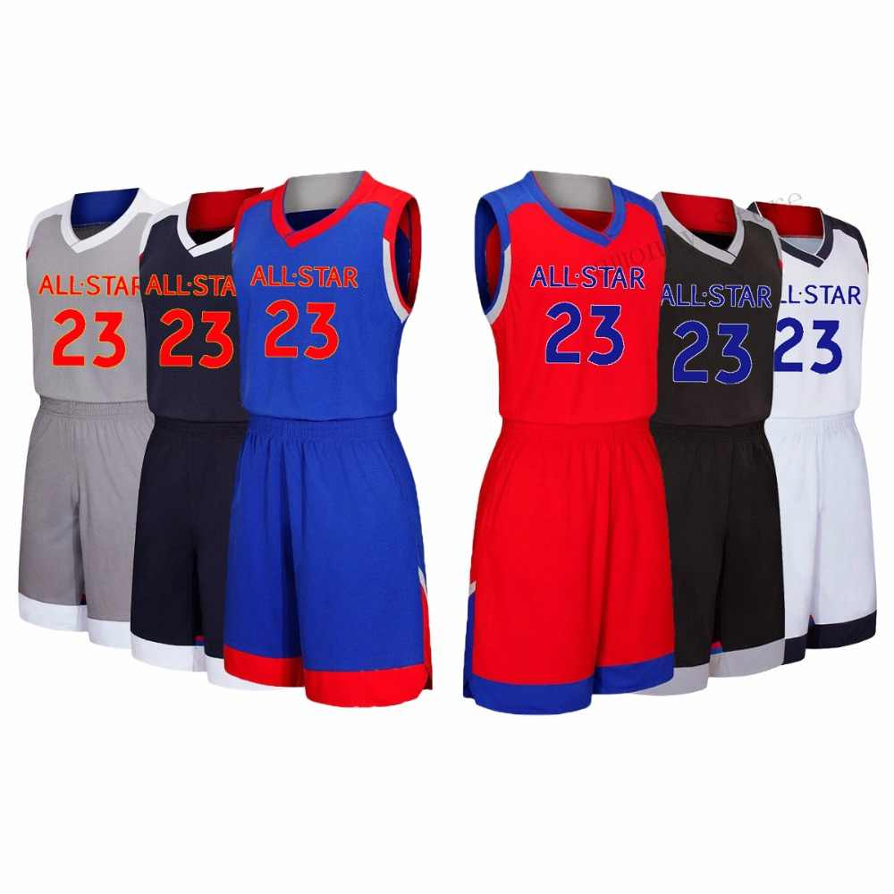 8a92ff57e46 Adsmoney 2017 Usa All star Basketball suit jersey #23 Michael East West  grey blue Game