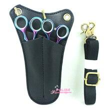 Black Color PU Hairstylist Tools Bag High Quality Barber Hair Scissor Pouch Holder 2 Piece Hair Scissor Bag With Adjustable Belt