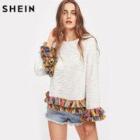 SHEIN Colorful Fringe Trim Slub Tee Women Casual Long Sleeve Women T Shirts Beige Round Neck