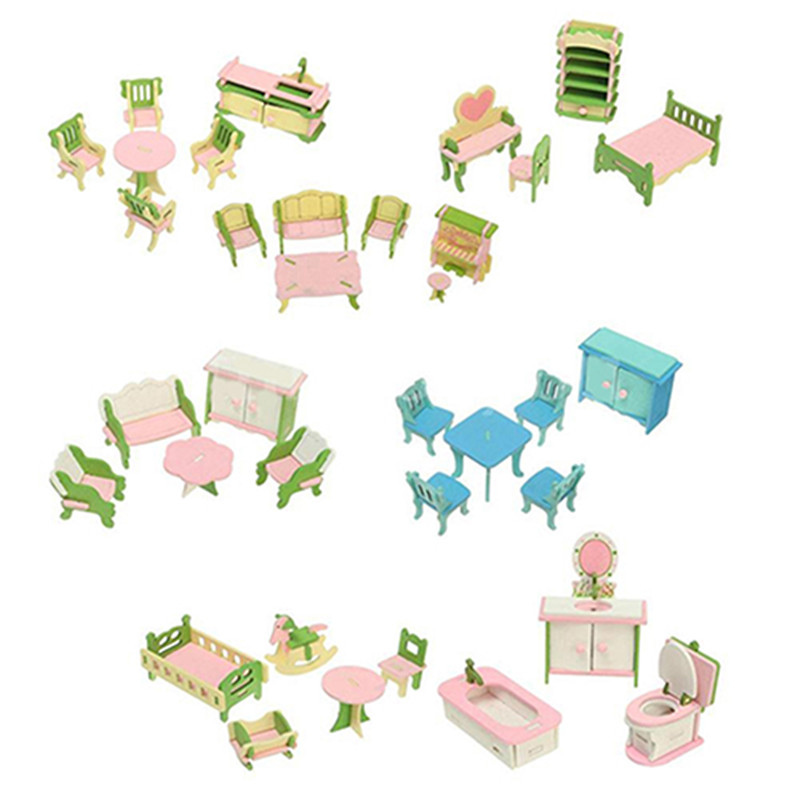 Wooden 3D Simulation Miniature Doll Play House Furniture Room Set Toy   Bedroom Kitchen Nursing Room Set Xmas Gift For Child Kid