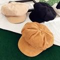 Korean Corduroy Women Hat Cute Spring Autumn Flat Painter Cap Vintage Casual Girls Beret Hat Black Camel Pink Beige