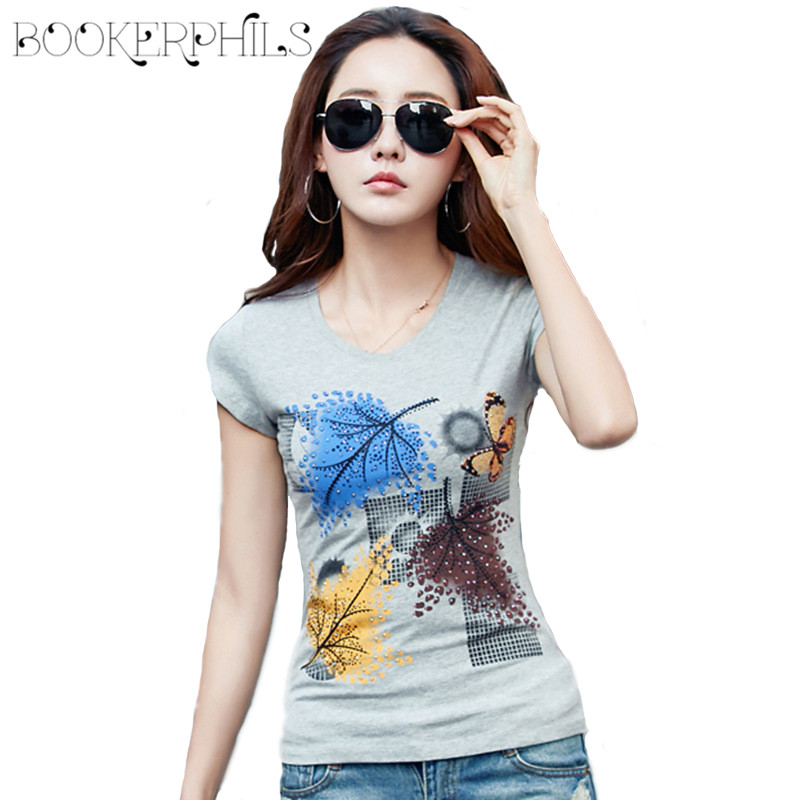 2018 Casual Summer T-skjorter Kvinner Diamond Ladies Topper O-Neck Kvinne T-skjorte Plus Size Casual Short Sleeve Hvit T-skjorte Tees 4XL