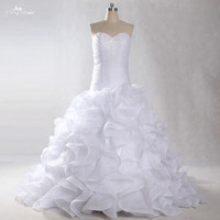 LZ226 2018 Elegant White Corset Organza Wedding Dresses Ruffles Beaded Ball Gown Romantic Bridal Dress