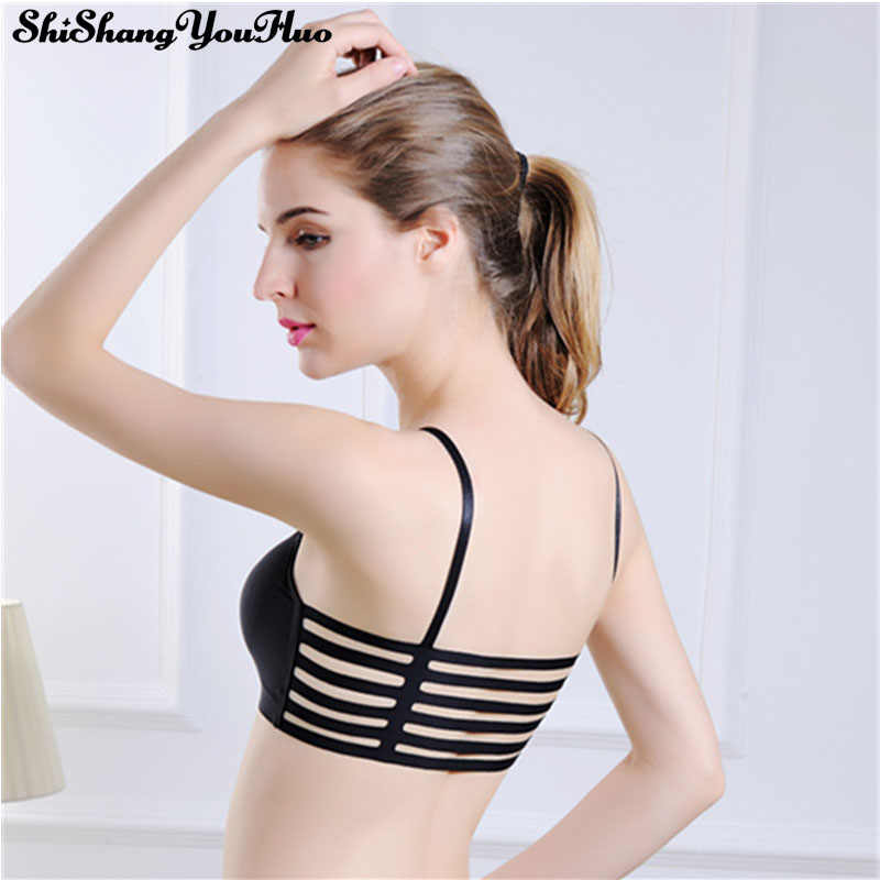 be276a377a Seamless Black White Women s Sexy Back Breathable striped Wild Hollow Underwear  Bra Tube Tops Tank Tops