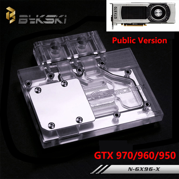 Bykski Public Version Full Cover Graphics Card Water Cooling Block use for NIVDIA GTX960 GTX950 GTX970  Cooler GPU RGB Light bykski multicol water cooling block cpu radiator use for amd ryzen am3 am4 acrylic cooler block 0 5mm waterway matel bracket