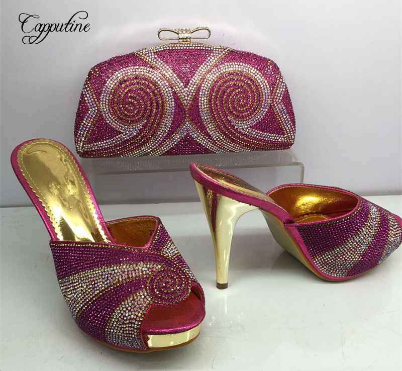 Capputine Summer Style Middle Heels Shoes And Bag Set Nigeria Design Rhinestone Woman Shoes And Bag Set For Party BL625C capputine new arrival fashion shoes and bag set high quality italian style woman high heels shoes and bags set for wedding party